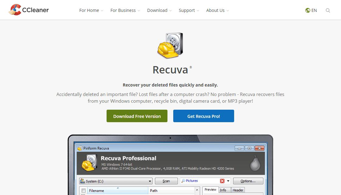 Официальный сайт: страница Recuva